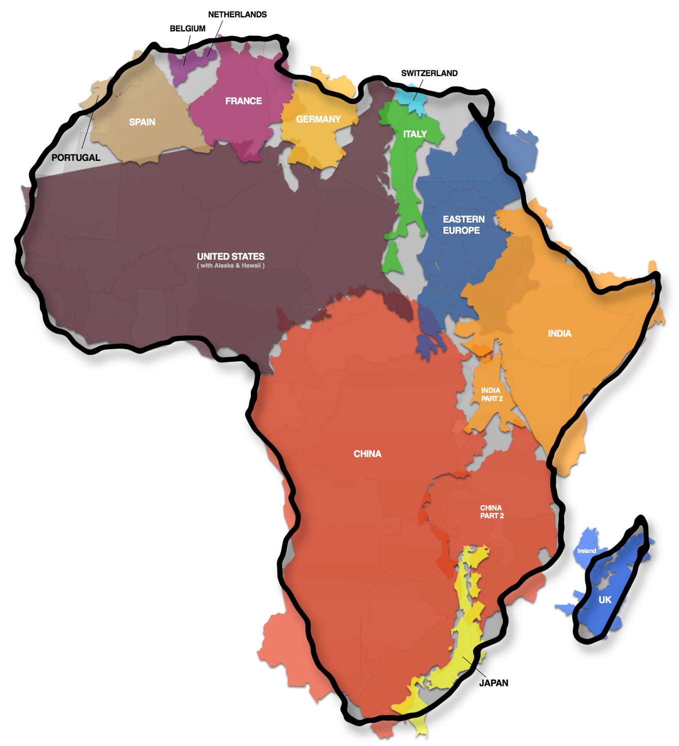 countries fit in africa map